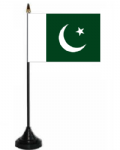 Pakistan Desk / Table Flag with plastic stand and base.